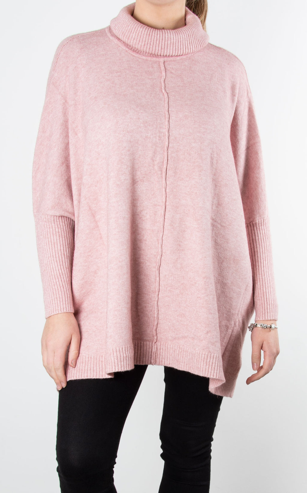 Lana Roll Neck Knit | Pink