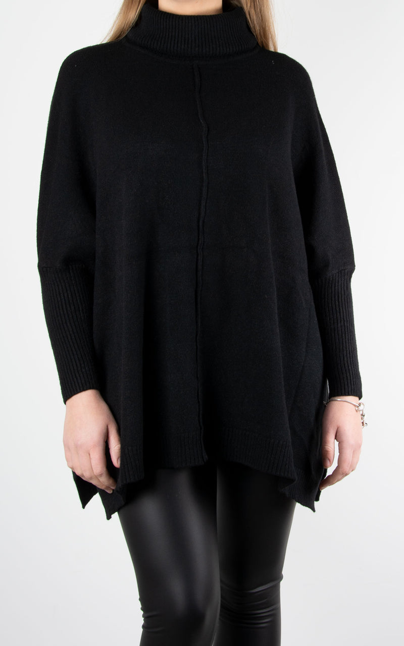 Lana Roll Neck Knit | Black