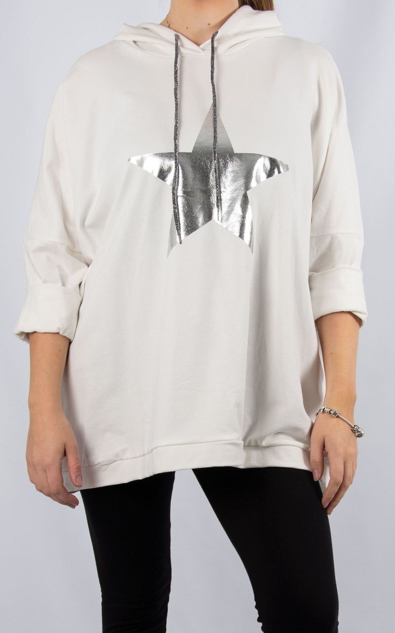 Layla White Foil Star Hoodie | Made in Italy