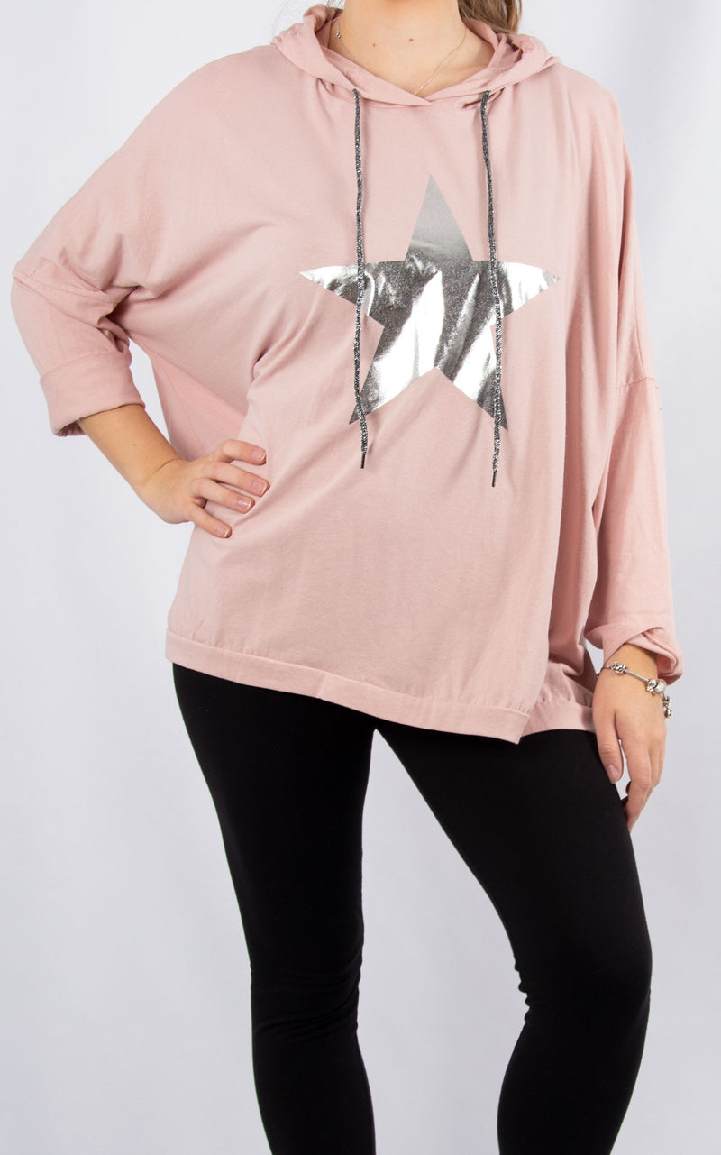 Layla Pink Foil Star Hoodie | Made in Italy