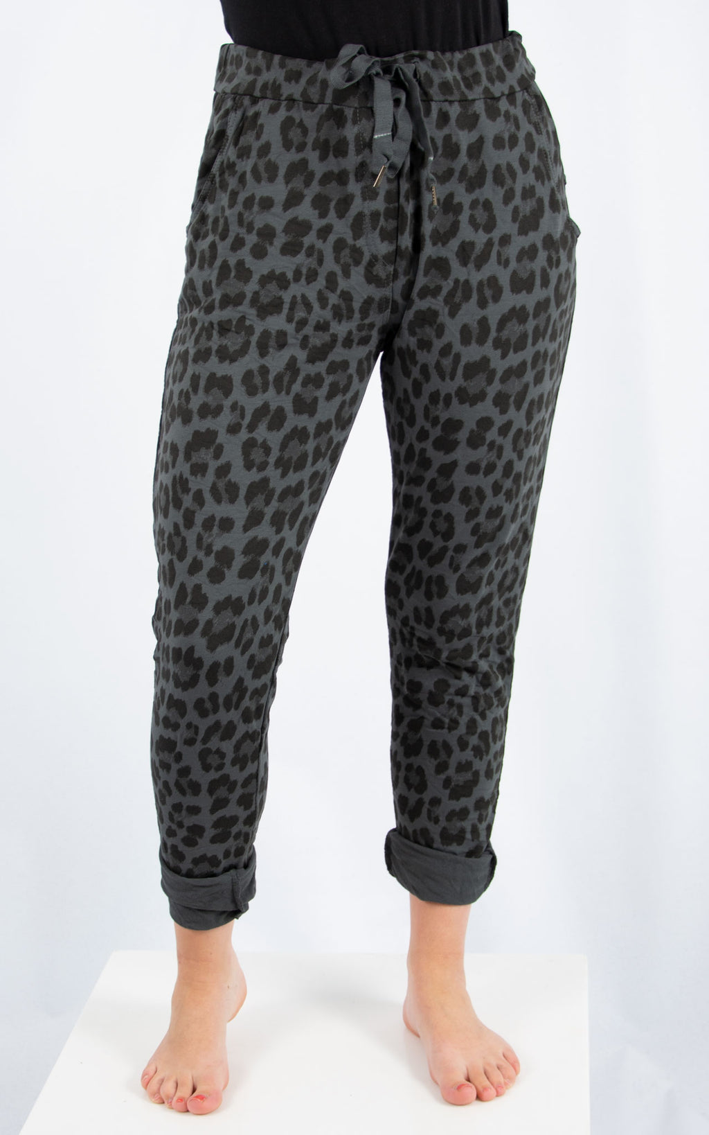 Charcoal Leopard Joggers | Made in Italy