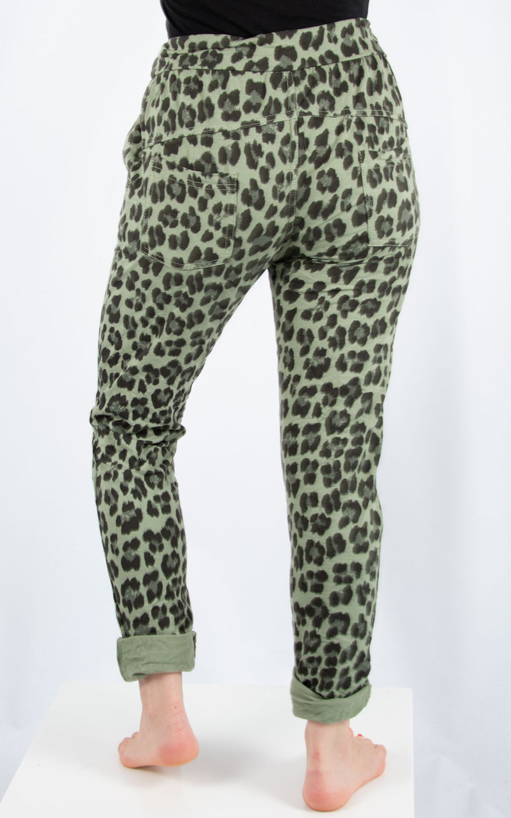Khaki Leopard Joggers | Made in Italy