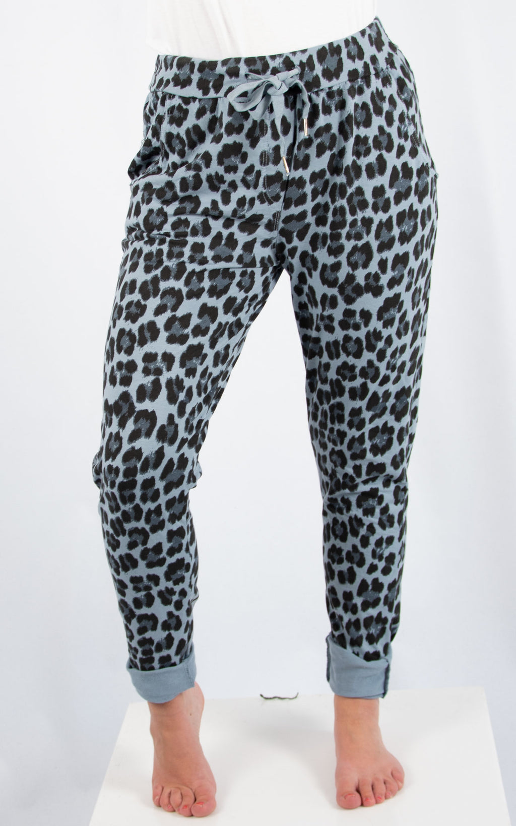 Blue Leopard Joggers | Made in Italy