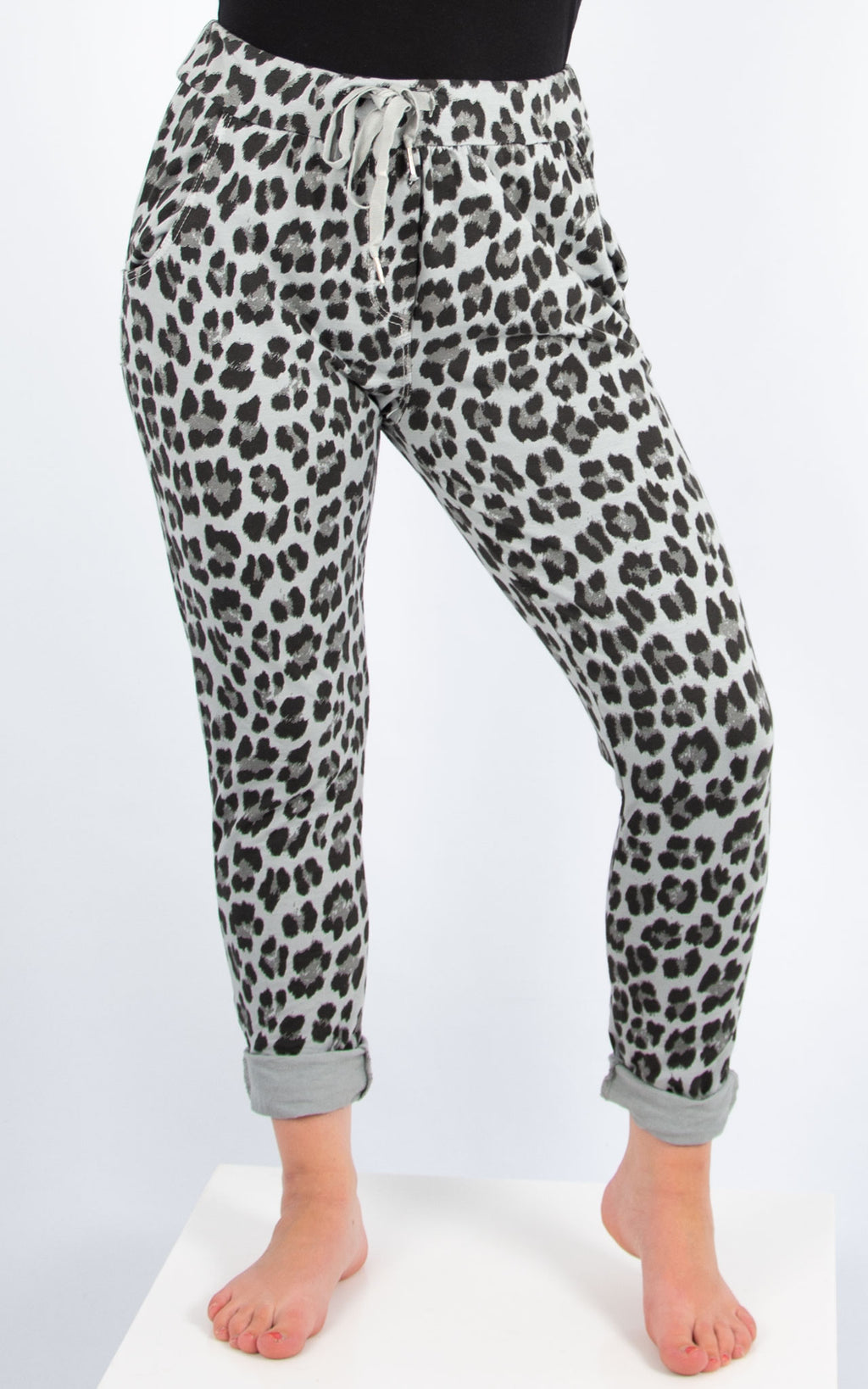 Grey Leopard Joggers | Made in Italy
