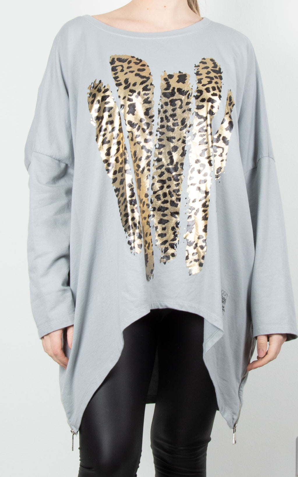 Leopard Paint Zip Sweat | Grey