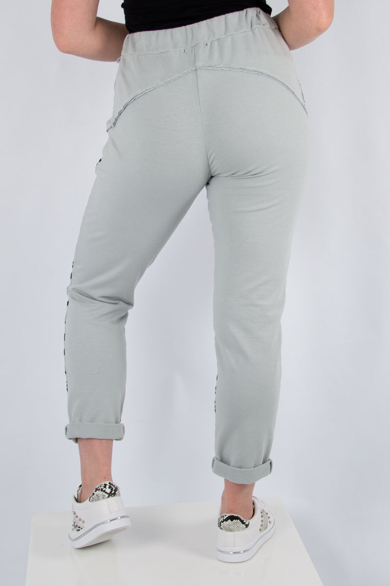 Light Grey Half Leopard Sweat Jogger | Made in Italy