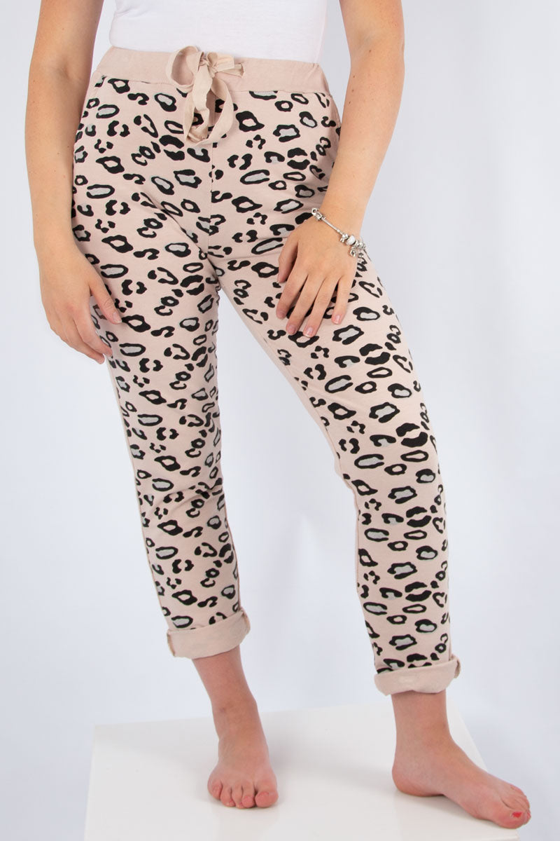 Pink Half Leopard Sweat Jogger | Made in Italy