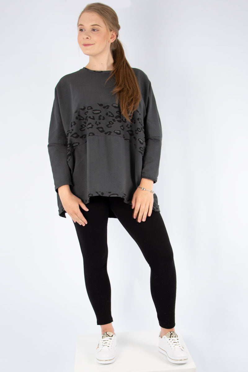 Dark Grey Leopard Panel Sweat | Made in Italy