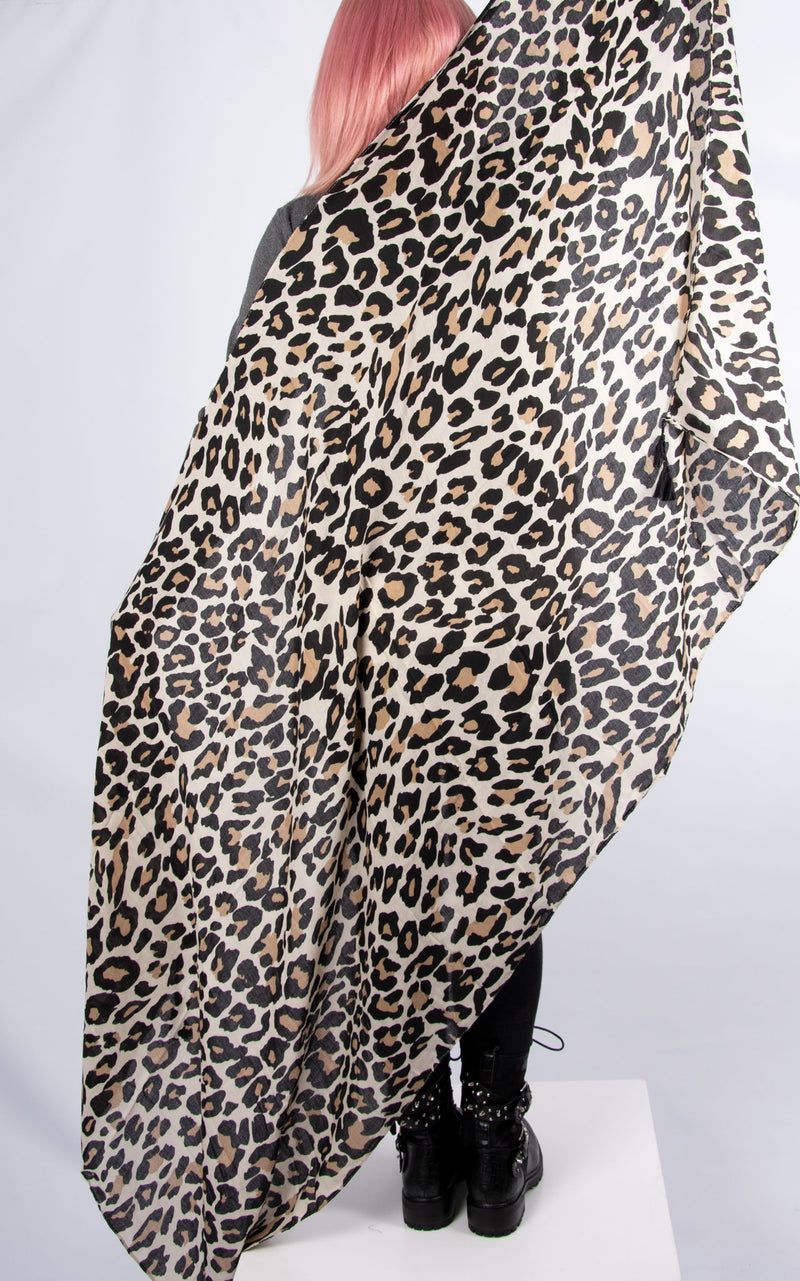 Leopard Print Winter White Scarf