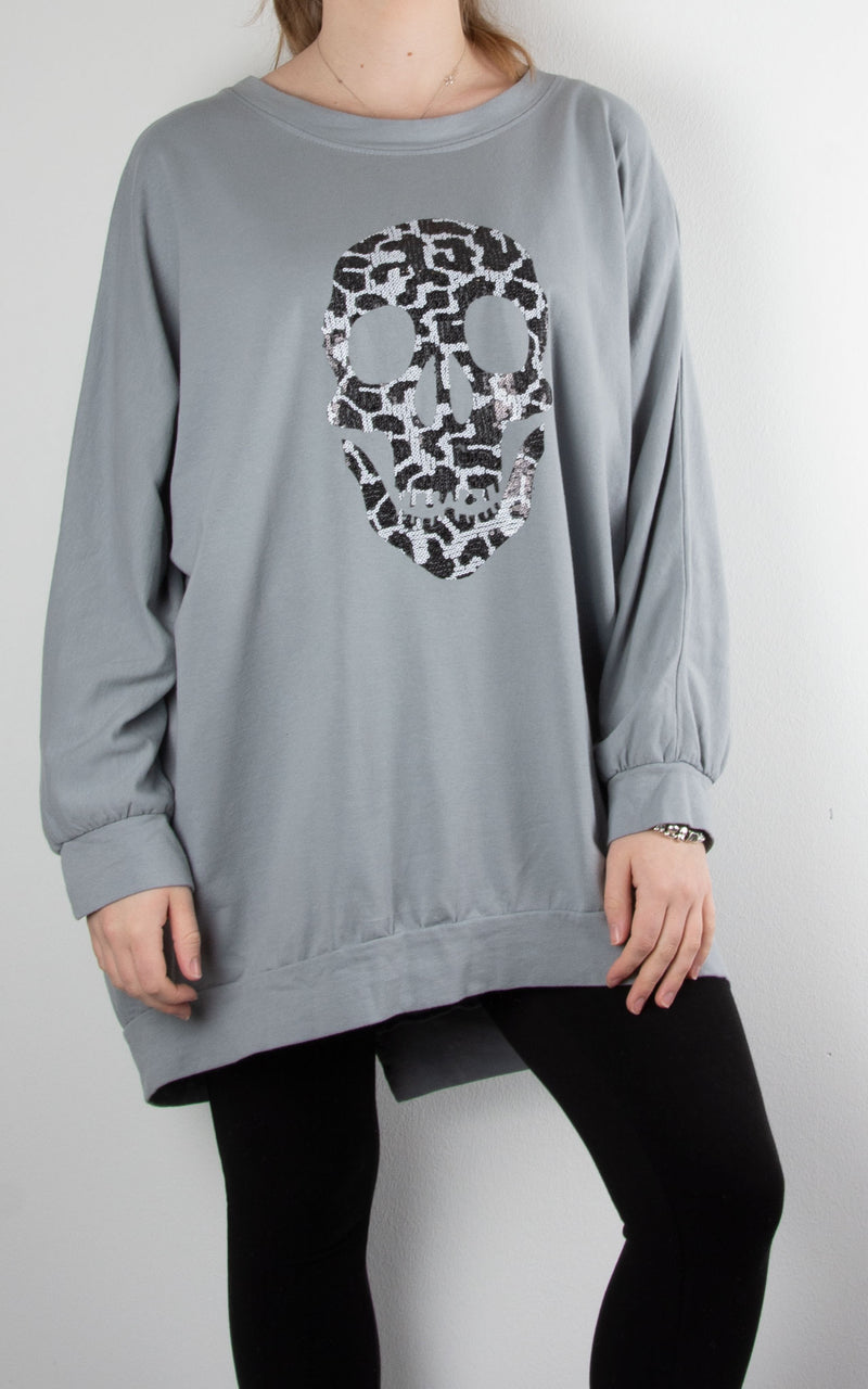 Leopard Skull Zip Back | Grey
