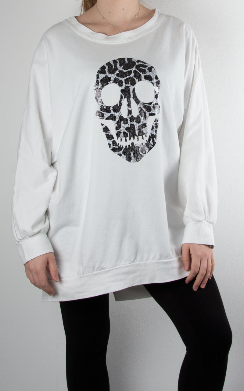 Leopard Skull Zip Back | Winter White