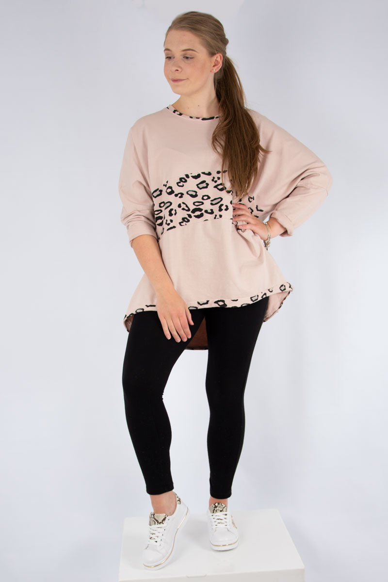 Pink Leopard Panel Sweat | Made in Italy