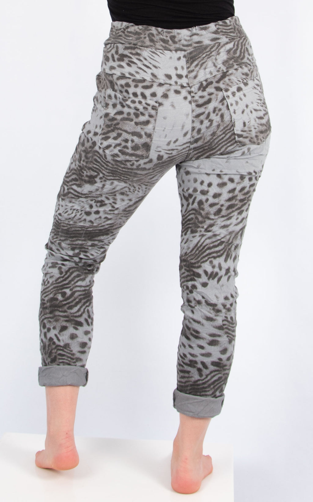 Light Grey Print Joggers | Made in Italy