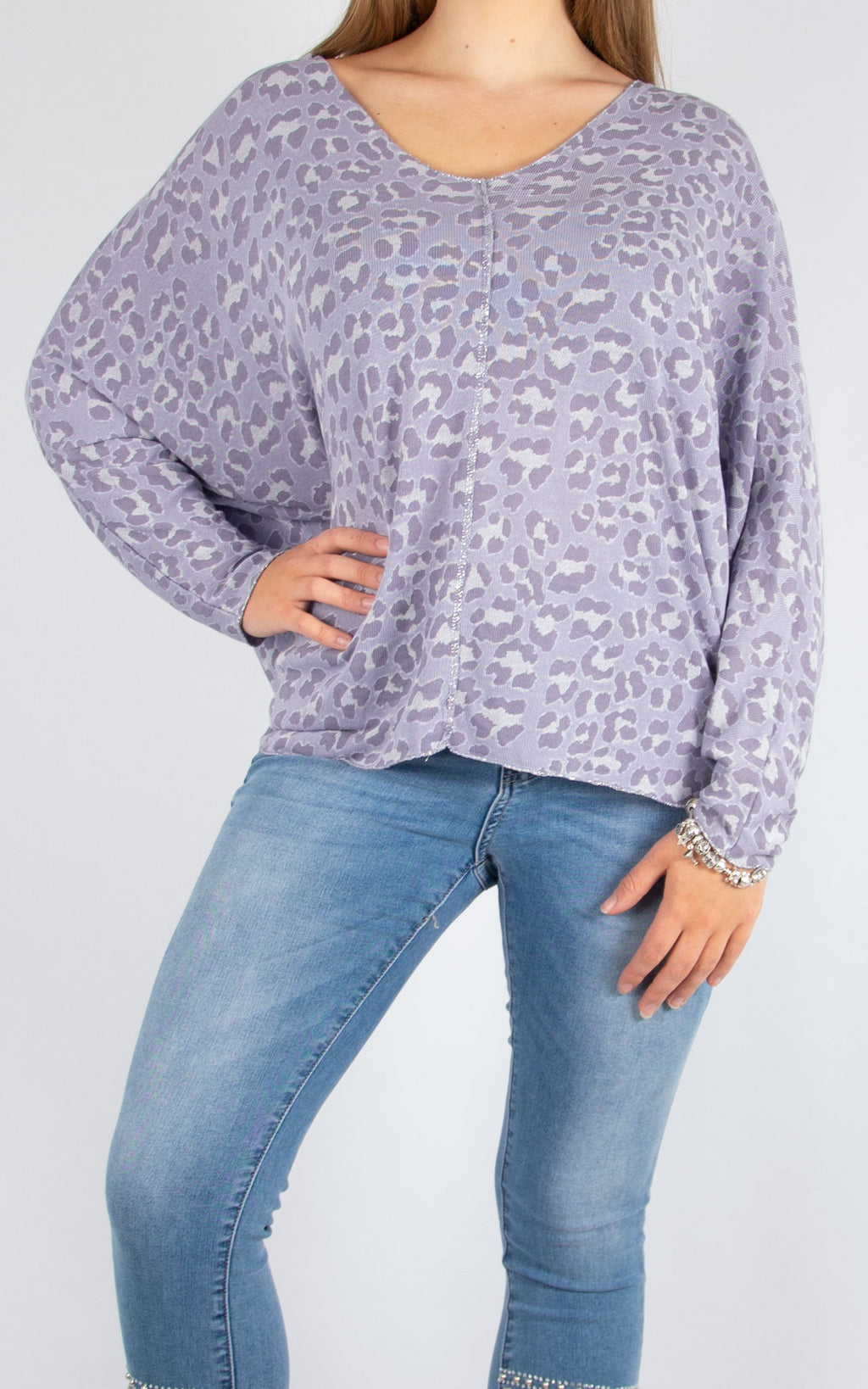 Purple Leopard V Neck | Made in Italy