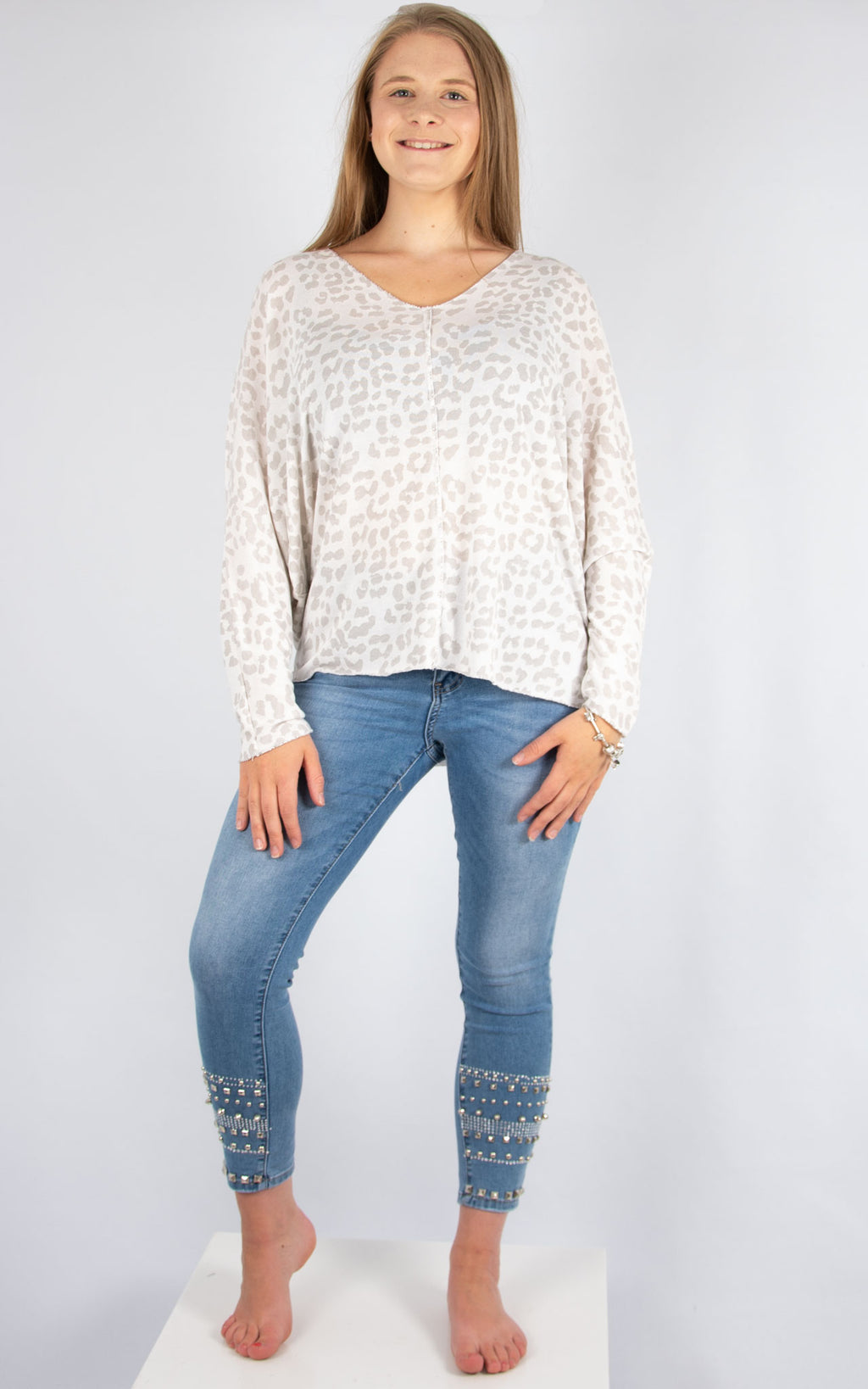 White Leopard V Neck | Made in Italy