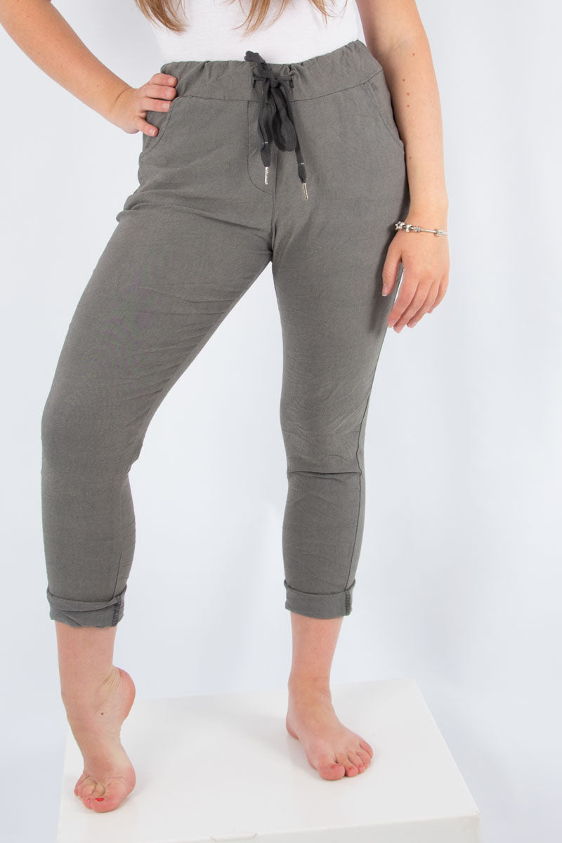 Grey Strech Plain Trouser | Made in Italy