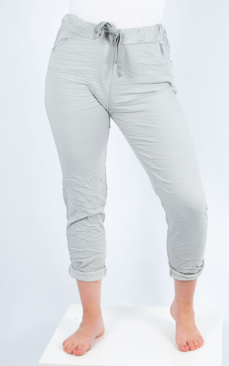 Light Grey Plain Crinkle Jogger | Made in Italy