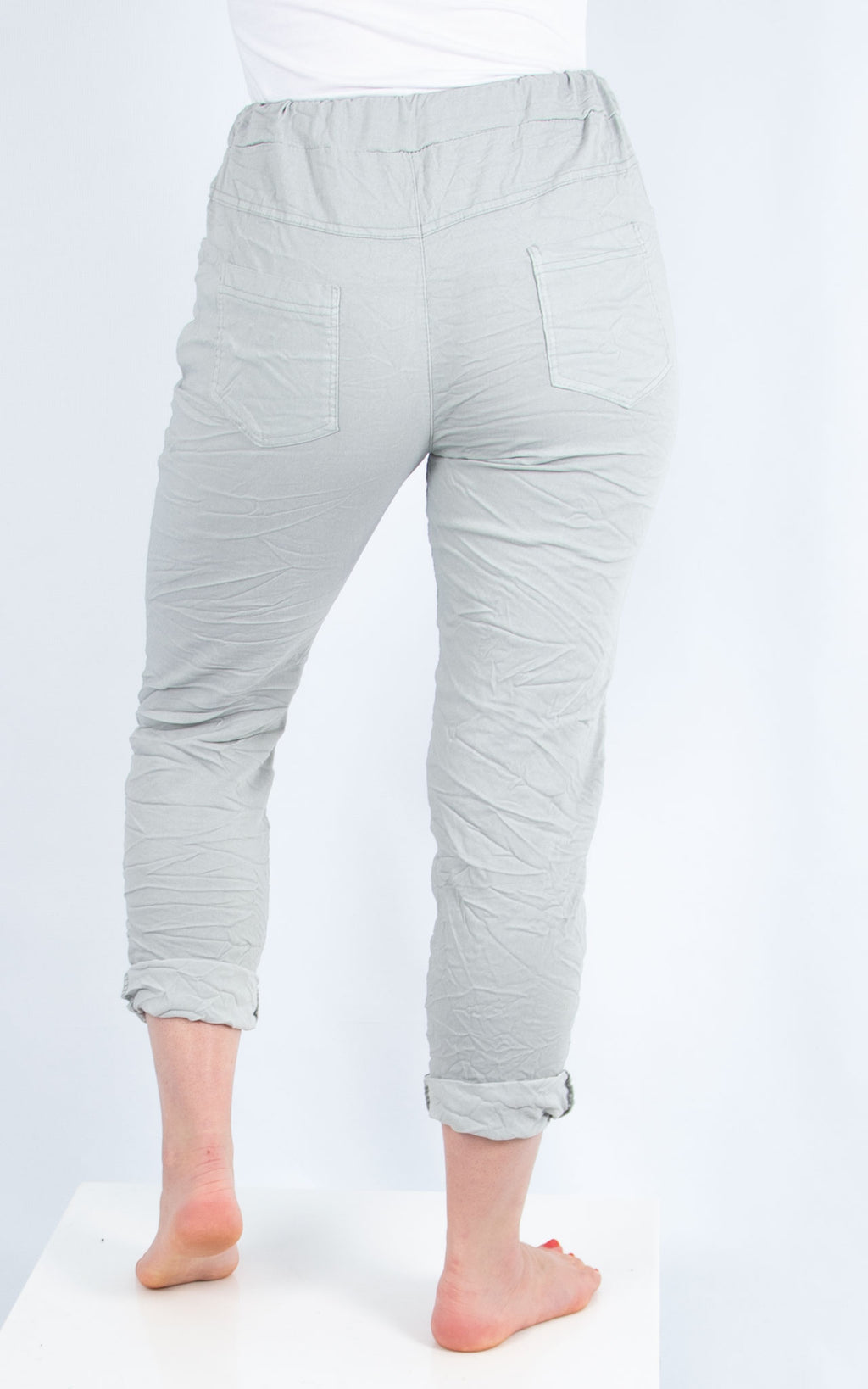 Light Grey Magic Crinkle Jogger | Made in Italy