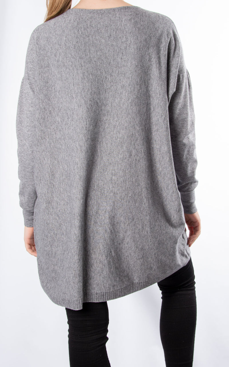Line Long Knit | Grey