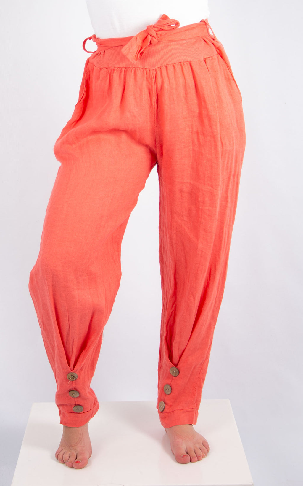 Coral 3 Button Linen Trousers | Made in Italy