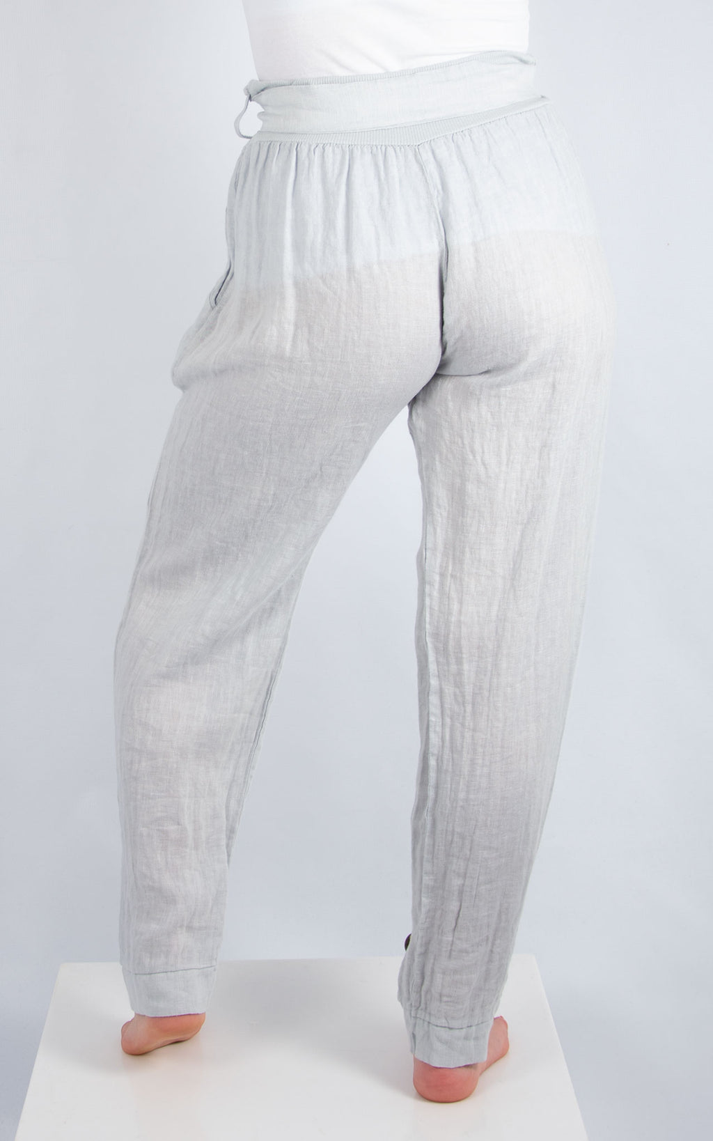 Light Grey 3 Button Linen Trousers | Made in Italy