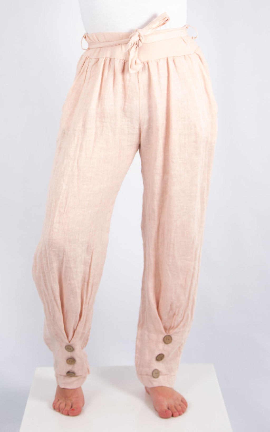 Pink 3 Button Linen Trousers | Made in Italy