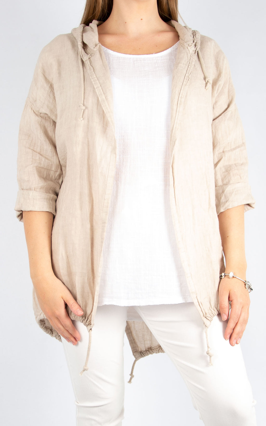 Beige Linen Drawstring Jacket | Made in Italy