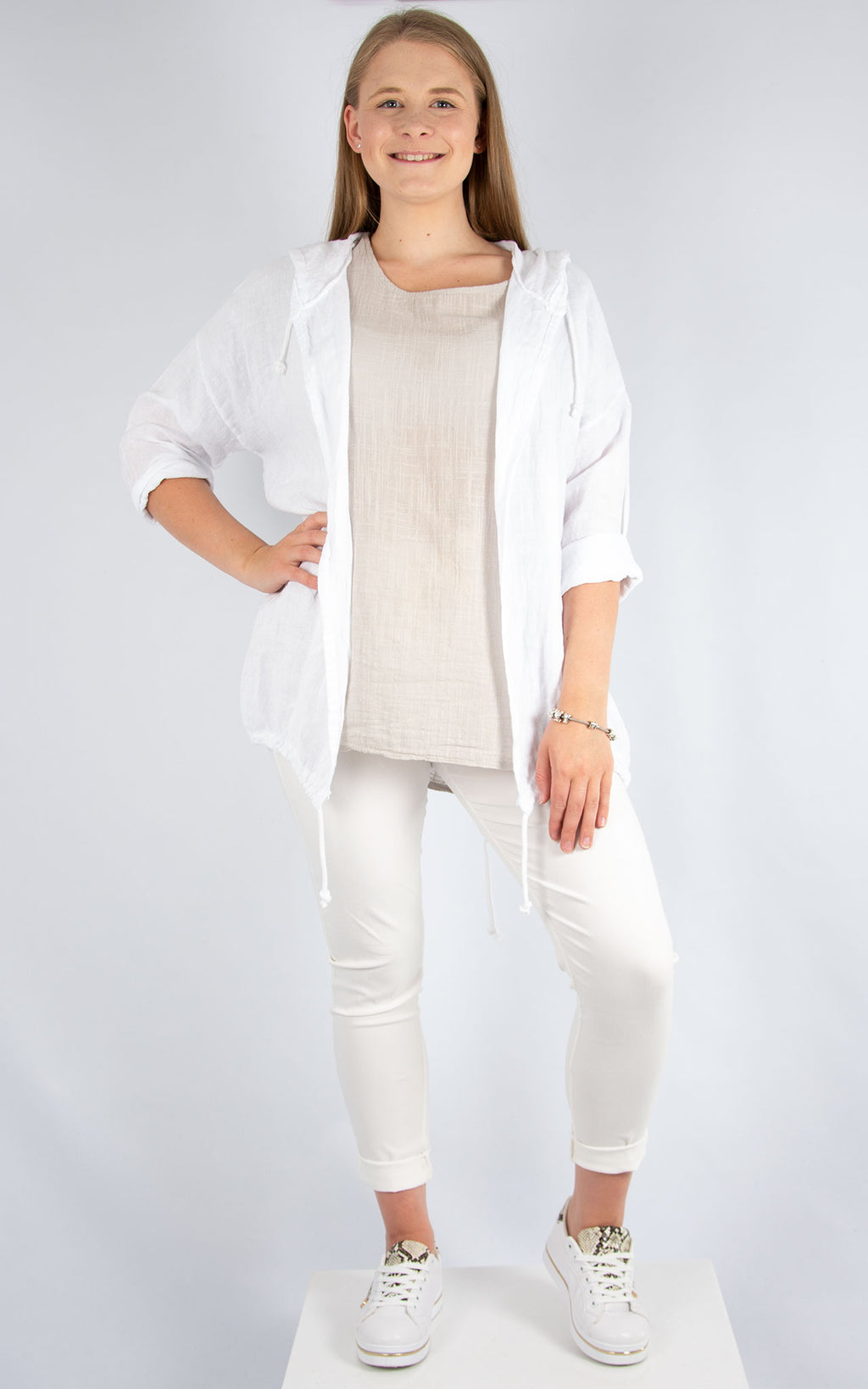 White Linen Drawstring Jacket | Made in Italy