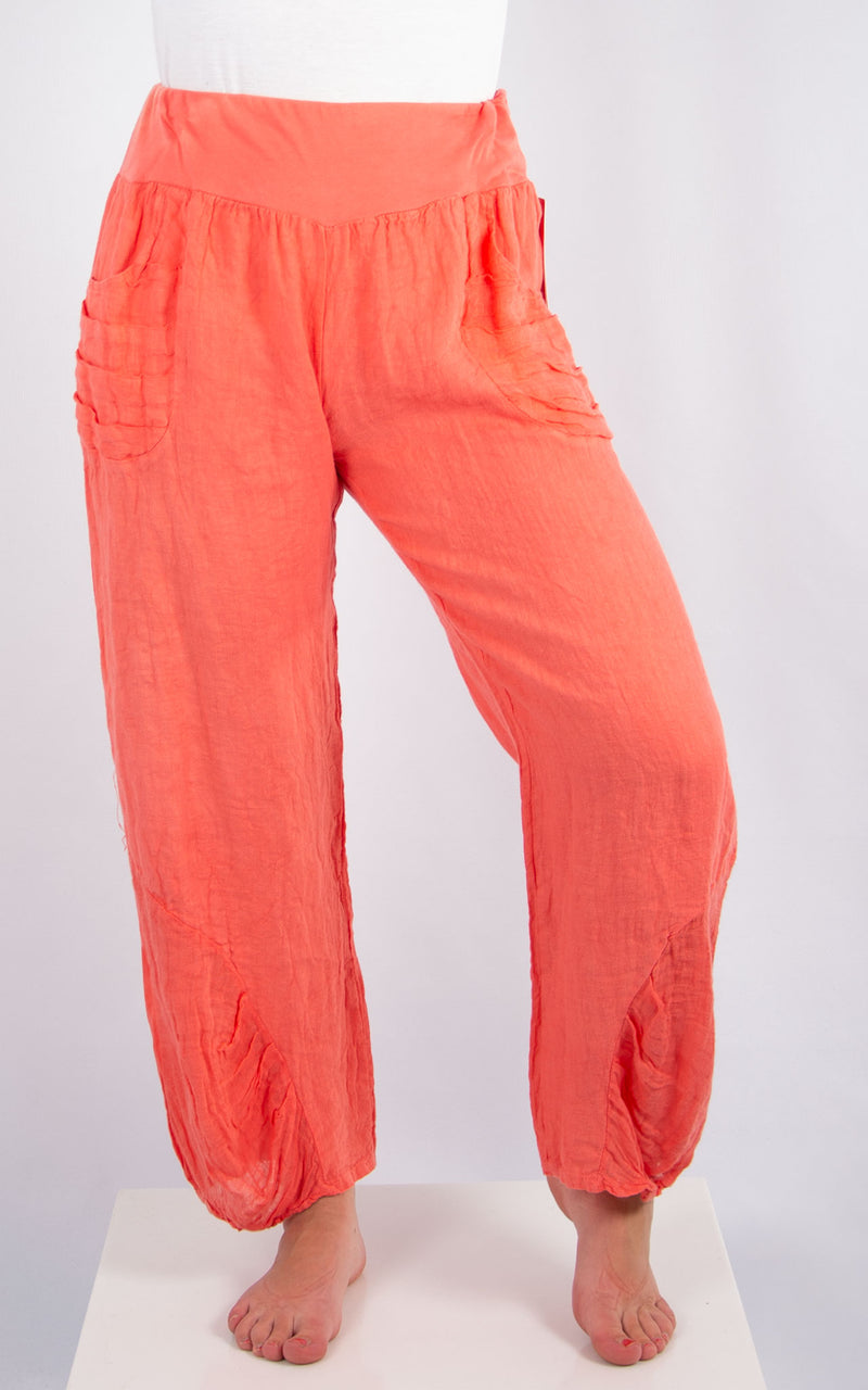 Coral Linen Pocket Trousers | Made in Italy