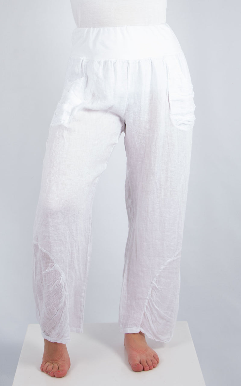 White Linen Pocket Trousers | Made in Italy