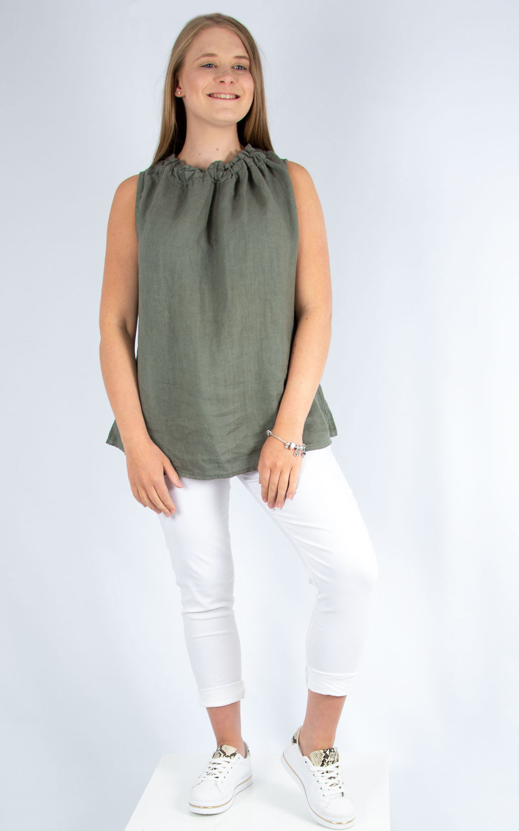 Khaki Linen Vest | Made in Italy