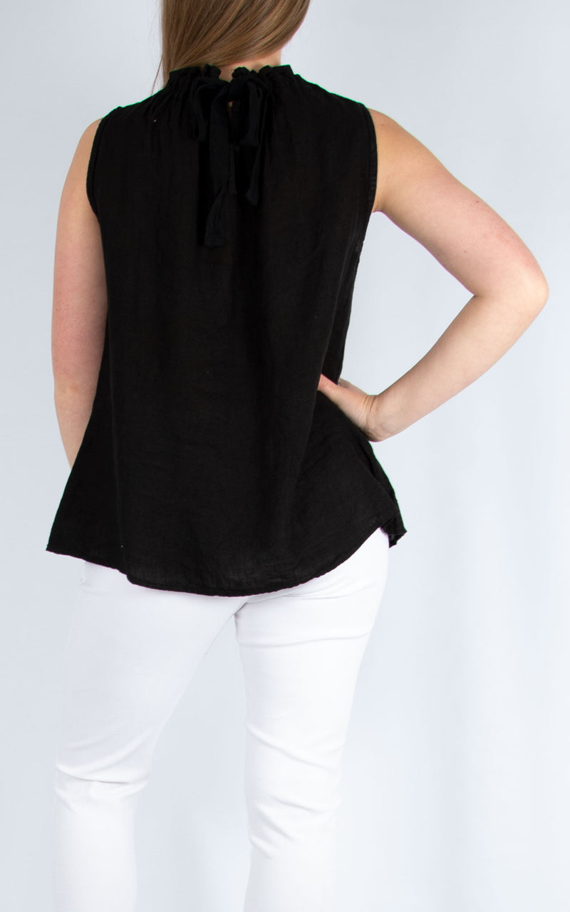 Black Linen Vest | Made in Italy