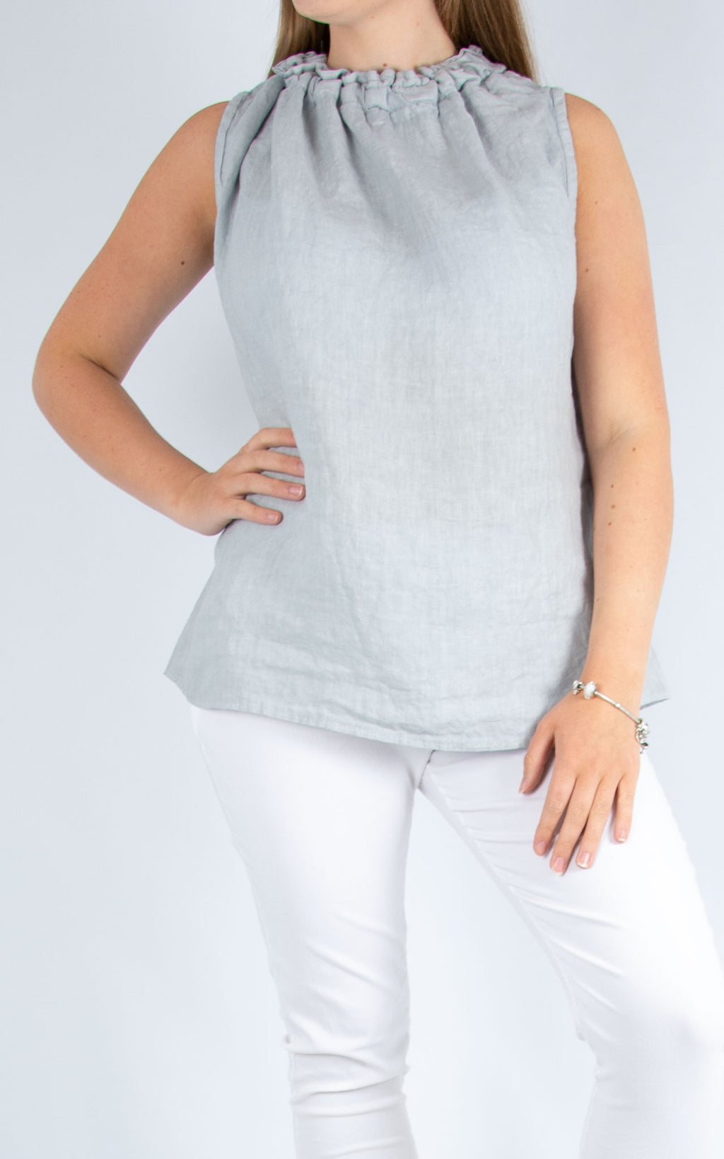 Grey Linen Vest Pale | Made in Italy