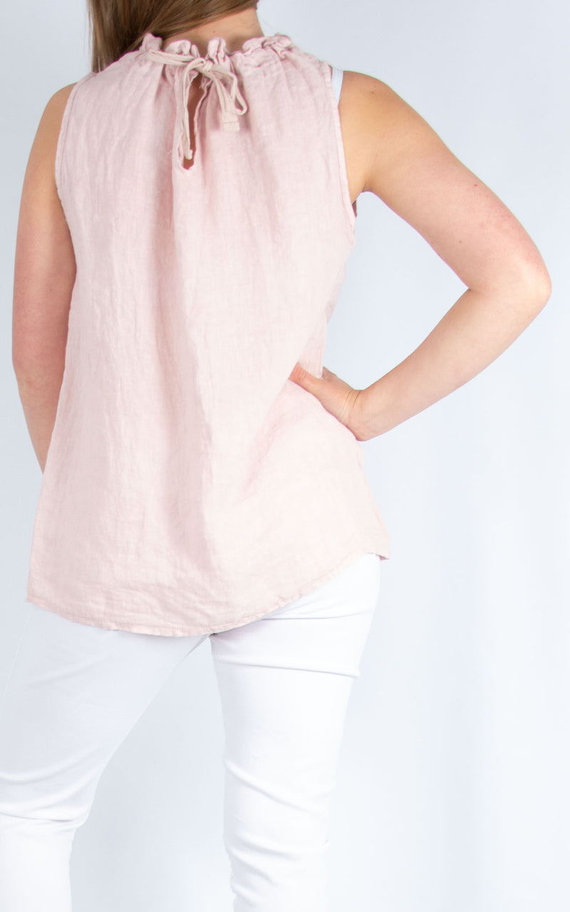 Pink Linen Vest Pale | Made in Italy