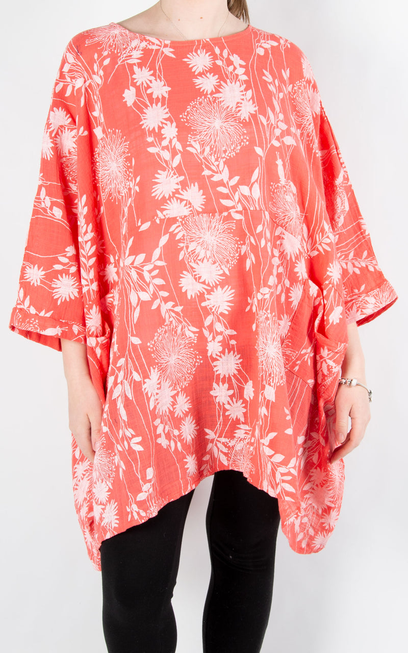 Liz Floral Pocket Oversized T | Coral
