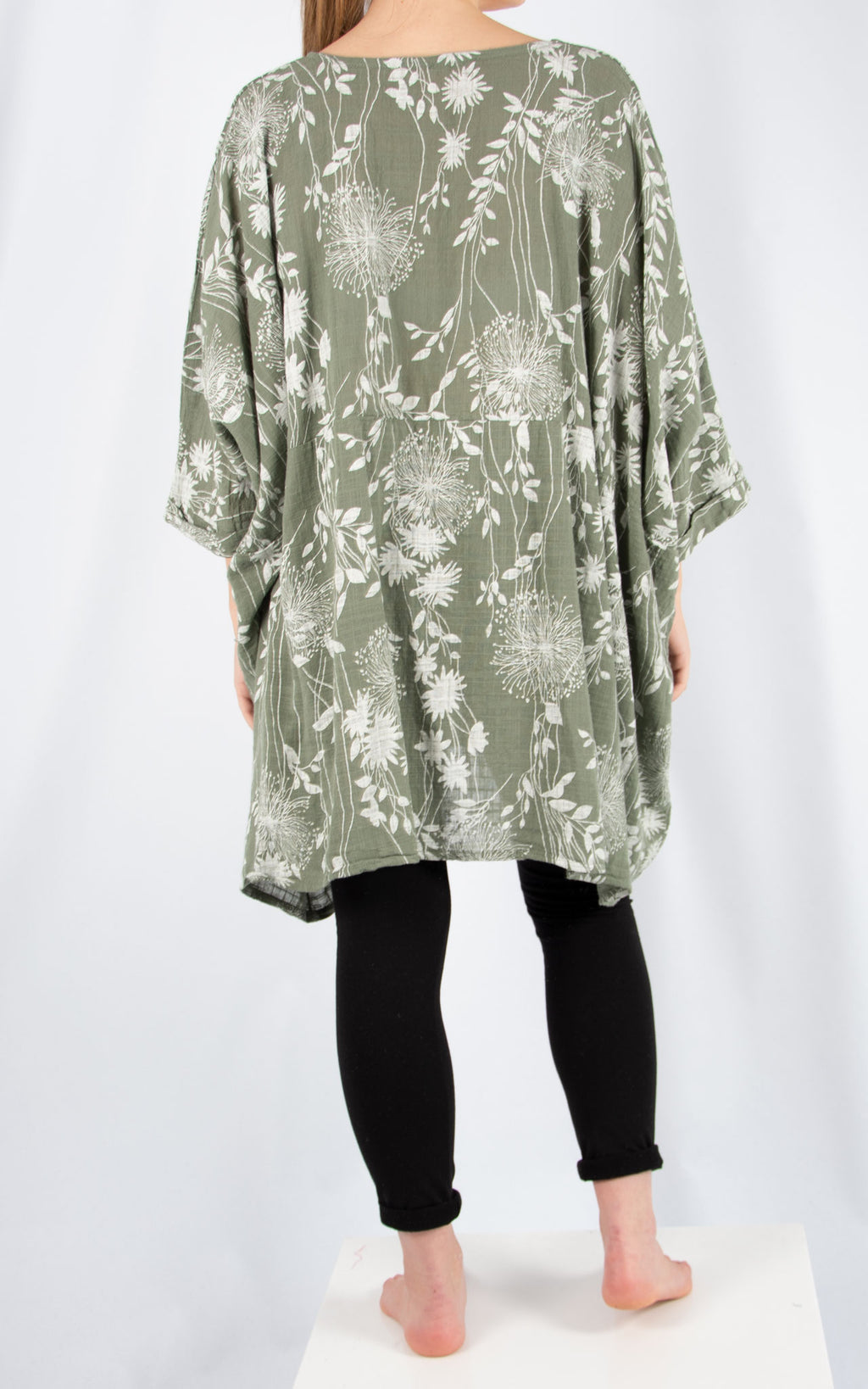Khaki Liz Floral Pocket Oversized T