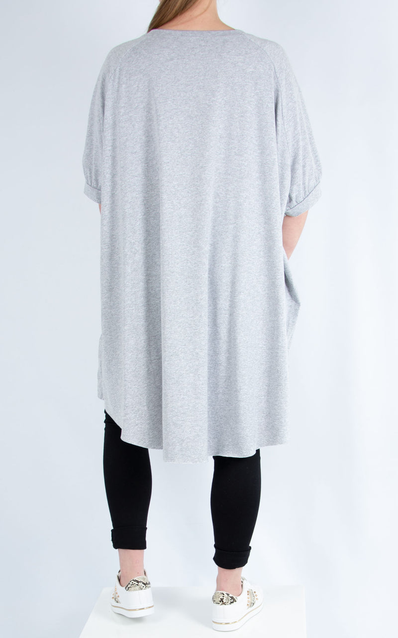 Grey Long Plain T Shirt | Made in Italy