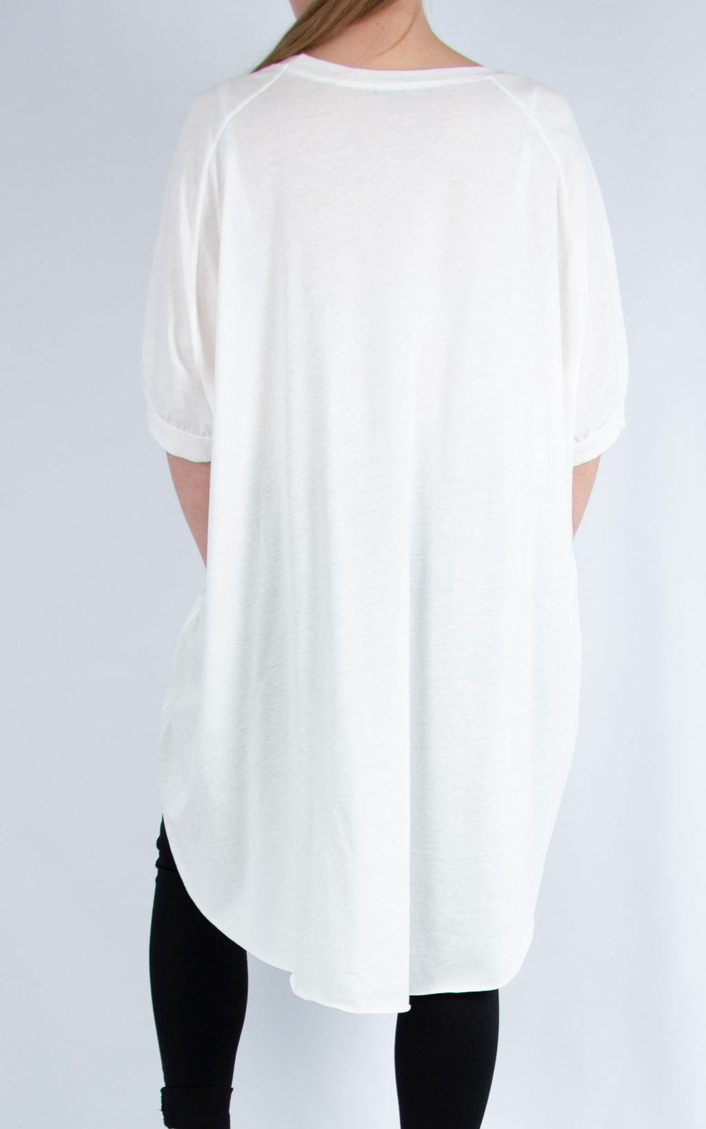 White Long Plain T Shirt | Made in Italy
