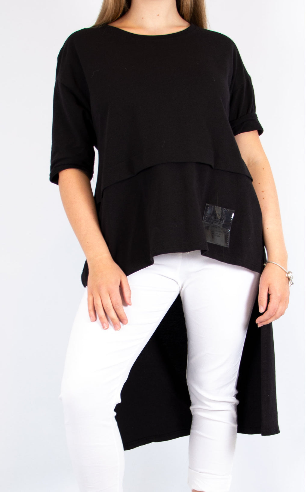 Black Cotton Long T Shirt | Made in Italy