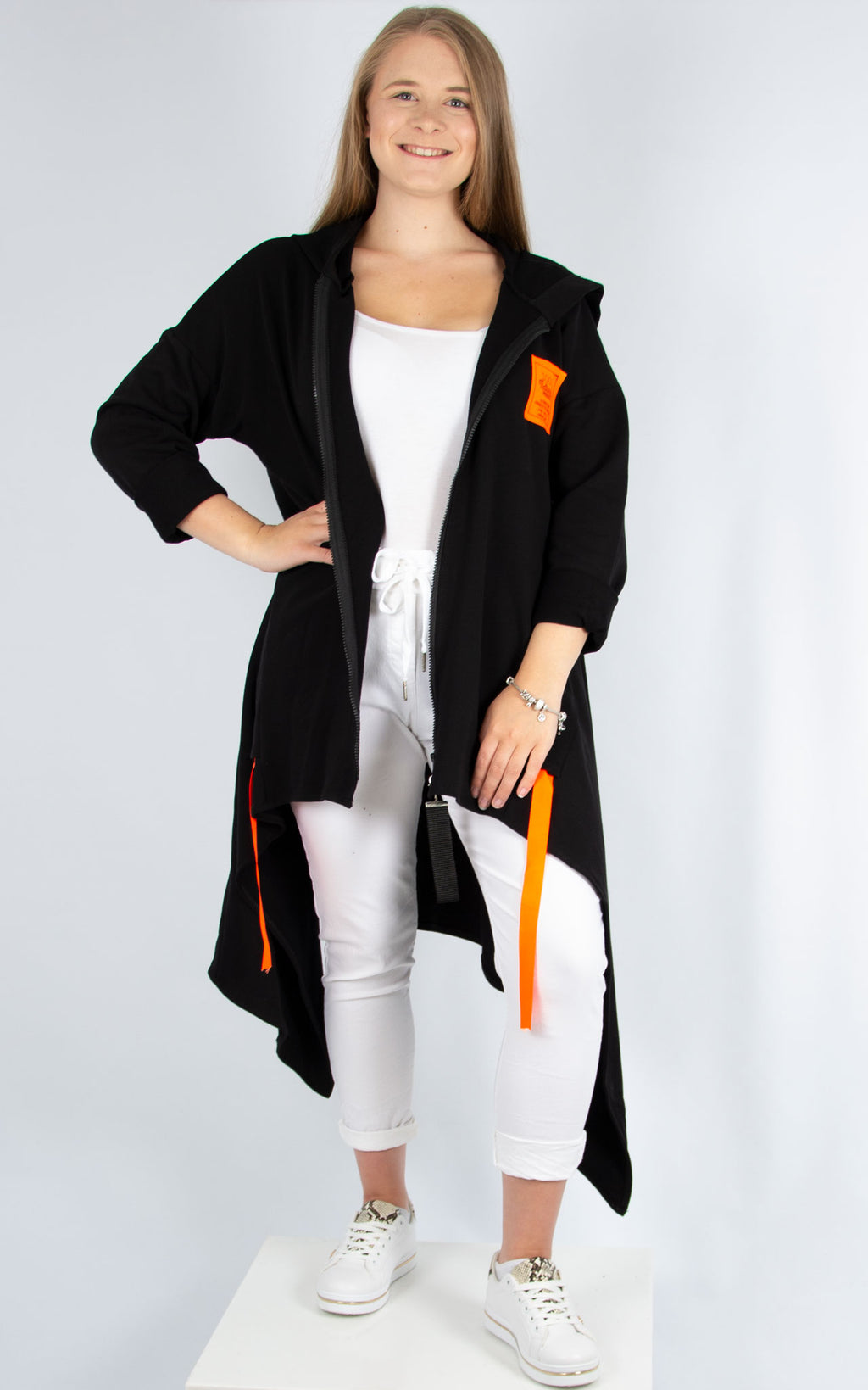 Orange Zipped Hoodie Black | Made in Italy