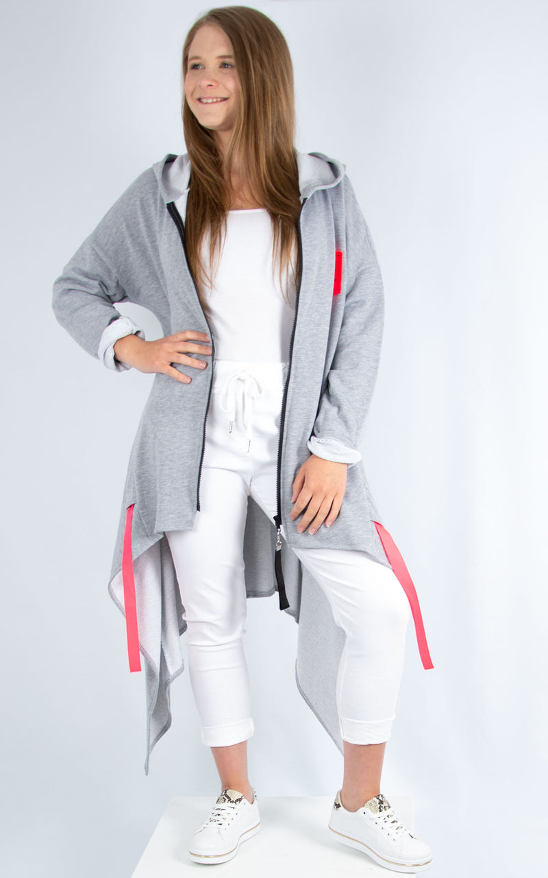Pink Zipped Hoodie Grey | Made in Italy