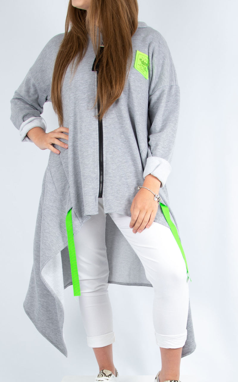 Lime Zipped Hoodie Grey | Made in Italy