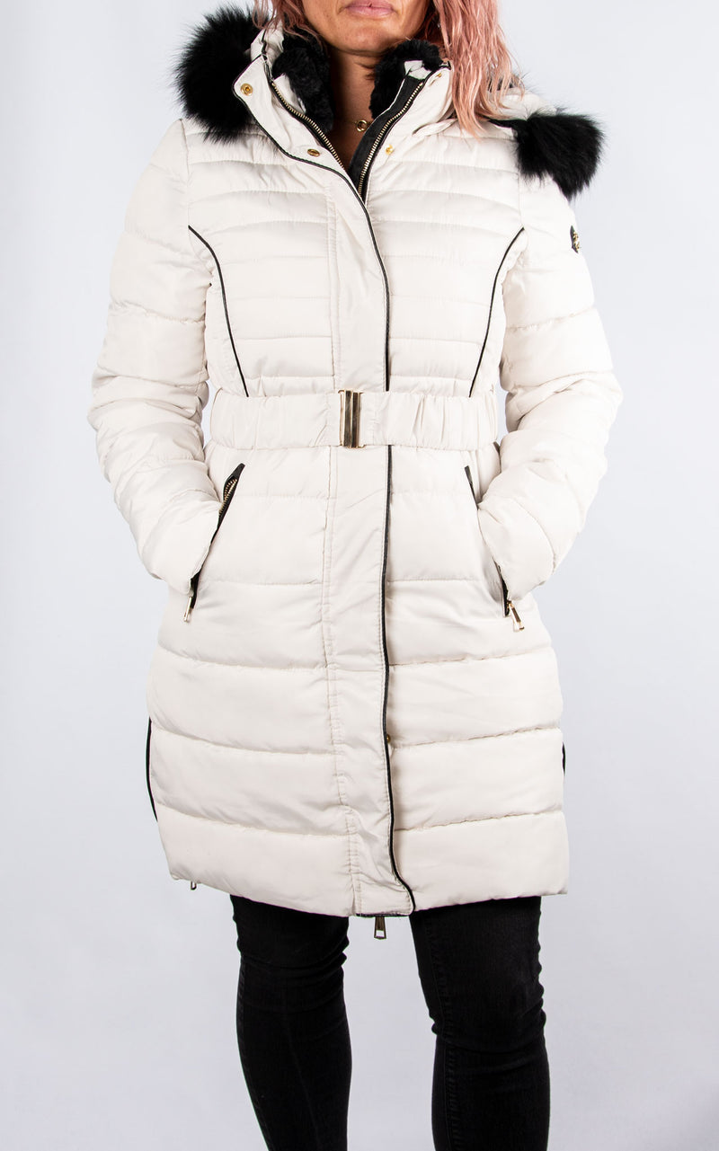 Long Fur Hood Coat | Cream
