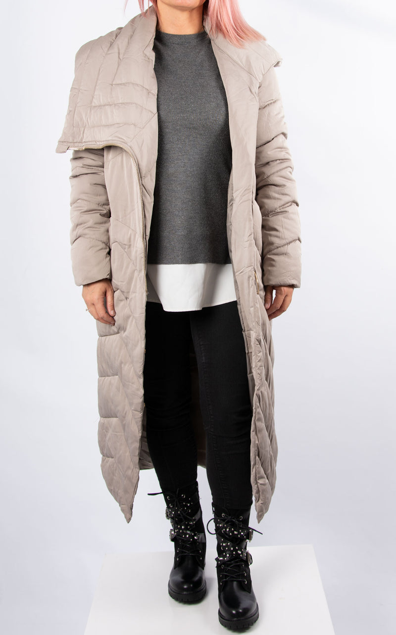 Long Loop Zip Coat | Stone