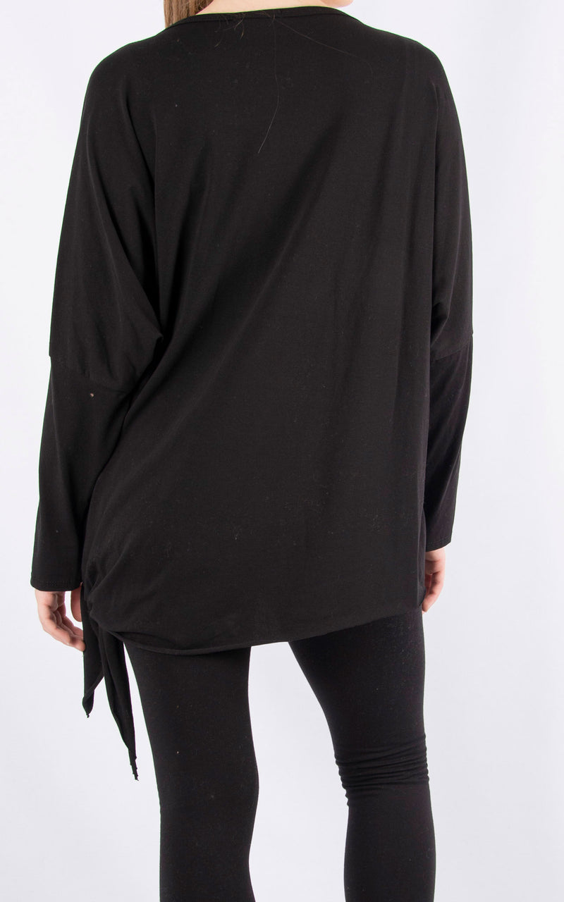Long Sleeve Side Tie T | Black