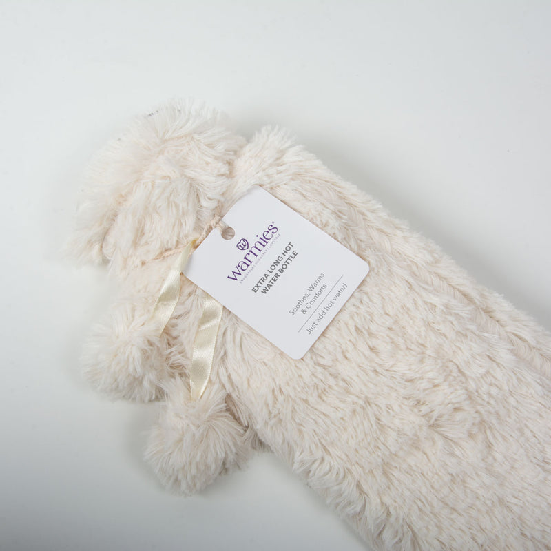 Long Hot Water Bottle | Cream Fur
