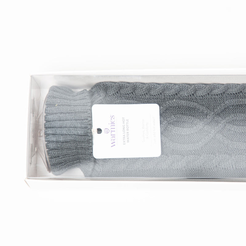 Long Hot Water Bottle | Grey Knit