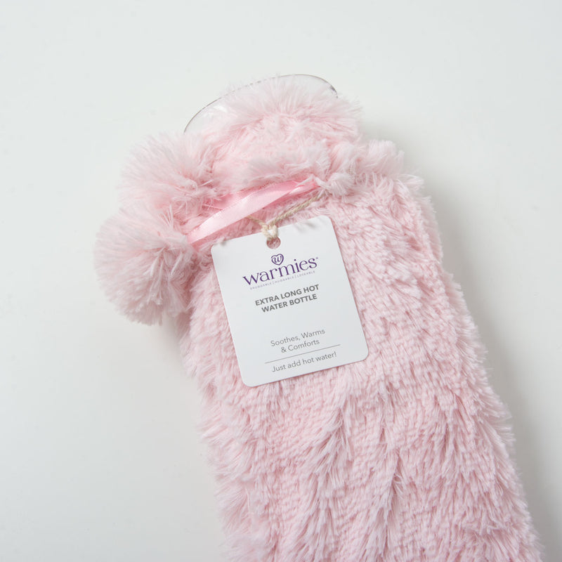 Long Hot Water Bottle | Pink Fur