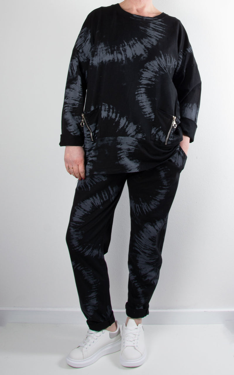 Lounge Set | Splatter Zip | Black