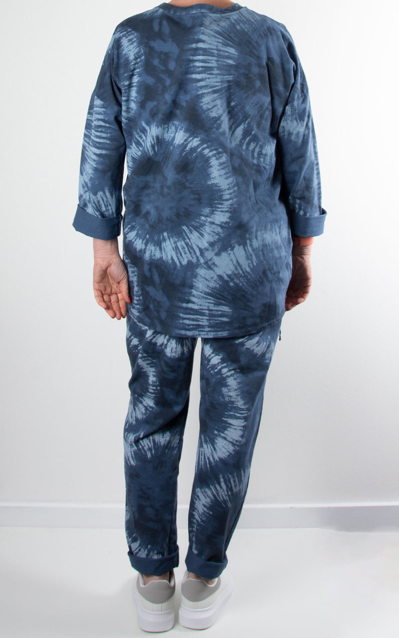 Lounge Set | Splatter Zip | Denim Blue